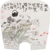 李胜春小尺寸扇画《闲品一壶茶 快乐似神仙》