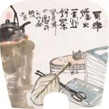 李胜春小尺寸扇画《百年炉火 一壶好茶》