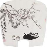 李胜春小尺寸扇画《清心可品茶》
