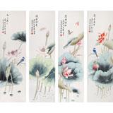 北京美协凌雪四条屏花鸟画《清香溢远》