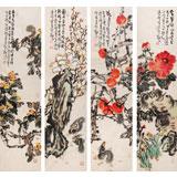 曲逸之 四条屏《柿柿如意》中国美术学院著名花鸟画家