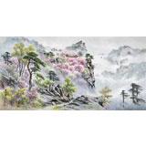朝鲜画家金善国 四尺《妙香山之春》