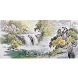 朝鲜画家赵元哲 四尺《金刚山仙河溪谷》