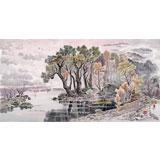 朝鲜画家赵元哲 四尺《湖上春光》