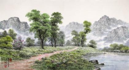 朝鲜名家蔡京华 四尺《山间小路》