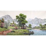 朝鲜名家蔡京华 四尺《乡村的清晨》