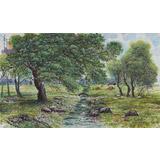 朝鲜画家李京日 四尺《故乡的春天》