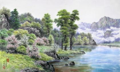 朝鲜名家蔡京华 四尺《湖边之春》