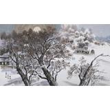 朝鲜一级画家 朴哲 四尺《故乡的月夜》