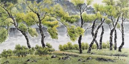 朝鲜画家林正 四尺《夏天》