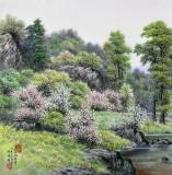 【已售】朝鲜名家蔡京华 四尺《湖边之春》