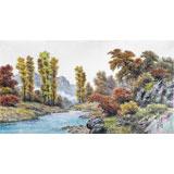 朝鲜名家蔡京华 四尺《秋天的山河》