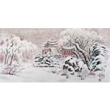 朝鲜画家赵元哲 四尺《平壤古迹》