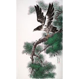 【已售】朝鲜画家韩贤姬 四尺《苍鹰》