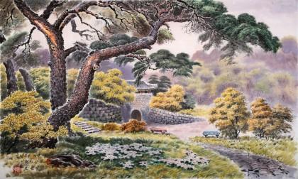 朝鲜一级画家 赵元哲 四尺《秋日》