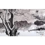 朝鲜画家郑勋 四尺《思念最胜台的月夜》