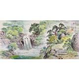 朝鲜画家赵元哲 四尺《金刚山溪谷》