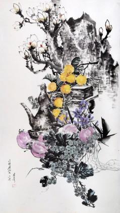 朝鲜画家金珍淑 四尺《硕果丰盈》