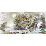 朝鲜画家赵元哲 四尺《妙香山的小溪》