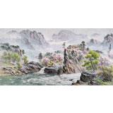 朝鲜画家金善国 四尺《妙香山下》
