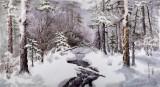 【已售】朝鲜画家李光哲 四尺《初雪》