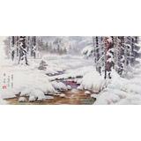 朝鲜画家赵元哲 四尺《山林之冬》