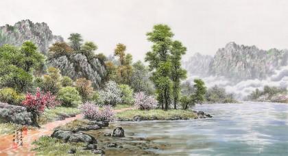 朝鲜名家蔡京华 四尺《湖边的春天》