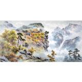 朝鲜画家金善国 四尺《妙香山祝圣殿》