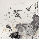 中国湿地画派创始人之一张明河 四尺斗方《游龙图》