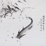 【已售】中国湿地画派创始人之一张明河 四尺斗方《连年有余》