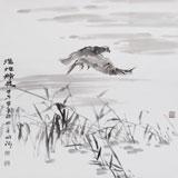 中国湿地画派创始人之一张明河 四尺斗方《湿地精灵》