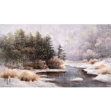 【已售】朝鲜画家权雪亚 四尺《森林的初雪》