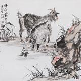 中国湿地画派创始人之一张明河 四尺斗方《祥和图》