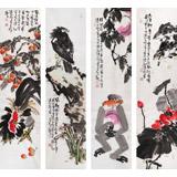 【已售】著名花鸟画家曲逸之 四条屏花鸟画