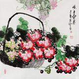 【已售】四尺斗方葡萄画《硕果累累》