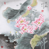 张洪山四尺斗方花鸟画《香远》