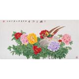 【已售】中国著名画家张洪山 四尺花鸟画《锦上添花》