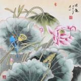 【已售】张洪山四尺斗方花鸟画《清趣》