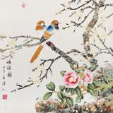 【已售】张洪山四尺斗方花鸟画《梅鹊图》