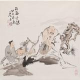 曹建涛 四尺斗方《品茗听风》 独具特色水墨人物画家