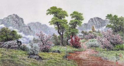 朝鲜名家蔡京华 四尺《乡村之春》
