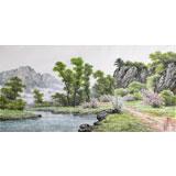 朝鲜名家蔡京华 四尺《春日溪水》