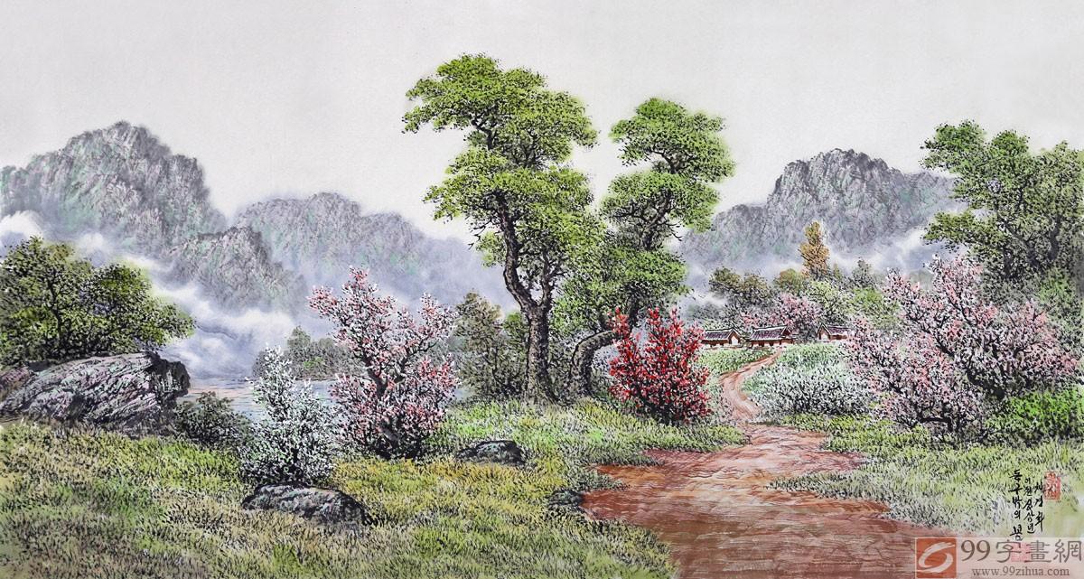 乡村风景线条素描