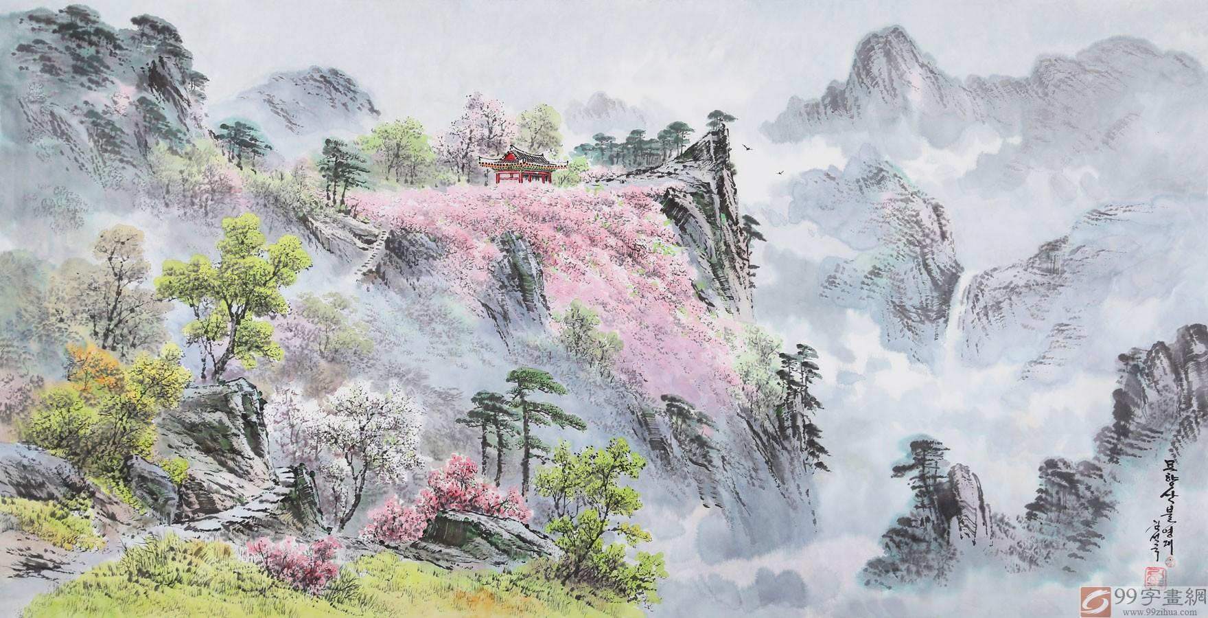 秋天层林尽染的自然景观细腻地刻画出来,在对风景的描绘上追求写实,而