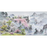朝鲜画家金善国 四尺《妙香山佛影台》