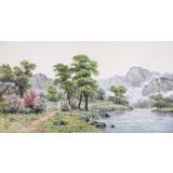 【已售】朝鲜名家蔡京华 四尺《春天里的小溪》