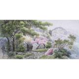朝鲜人民艺术家 李昌 四尺《牡丹峰的春》