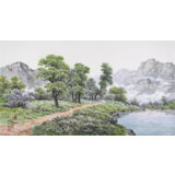 【已售】朝鲜名家蔡京华 四尺《溪边的初夏》