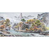 朝鲜画家金善国 四尺《妙香山法王峰溪谷》