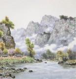 朝鲜名家蔡京华 四尺《山村的春天》